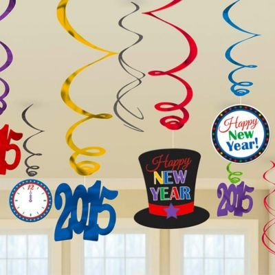 2015 Happy New Year Colorful Swirl Decorations12 Pack