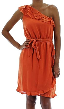 Jessica Simpson Asymmetrical Ruffle One Shoulder Women's Dress Orange Size 8