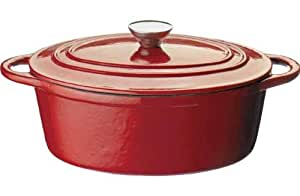 cookworks cast iron 27cm oval ovenproof induction casserole dish with lid oven to table red. Black Bedroom Furniture Sets. Home Design Ideas