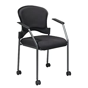 Titanium Finish Visitors Chair with Arms and Upholstered Contour Back and Casters