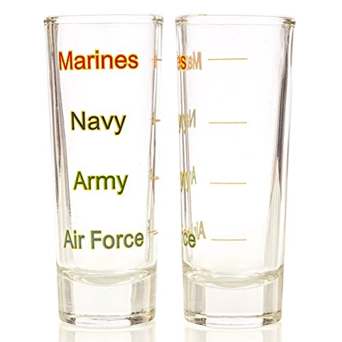 Military Levels Shot Glass 4 pack - Marine Corps Navy Army Air Force Gift Set Veteran