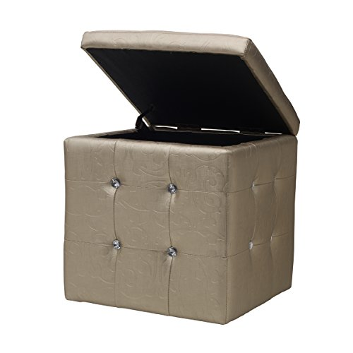 elements square nail head storage ottoman 16 by 16 inch