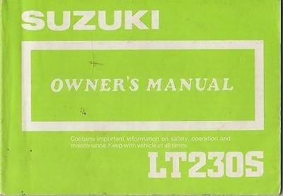 1987 Suzuki Atv 4 Wheeler Lt230S P/N 99011-22A22-03A Owners Manual (431)