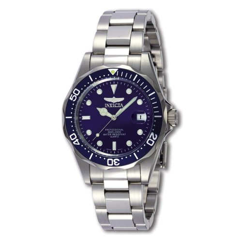 Invicta Men's Pro Diver SQ 9204 Silver Stainless-Steel Quartz Watch with Blue Dial