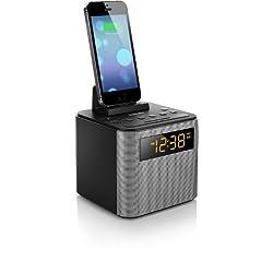 Philips AJT3300/37 Bluetooth Dual Alarm Clock Radio iPhone/Android Speaker Dock Speakerphone Microphone (Black)