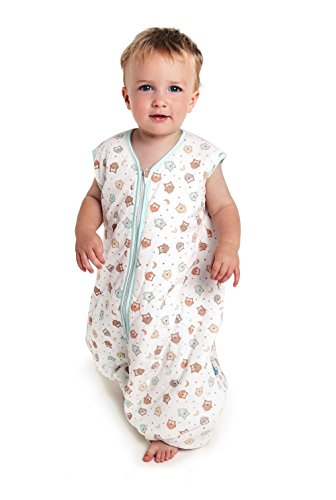 Toddler Sleep Sack with Feet 100% Cotton 2.5 Tog - Owls - 24-36 months/39inch - 1