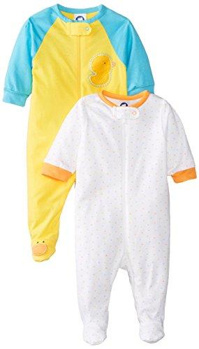 Gerber Unisex-Baby Newborn 2 Pack Neutral Sleep N Play Zip Front, Ducks, 9 Months