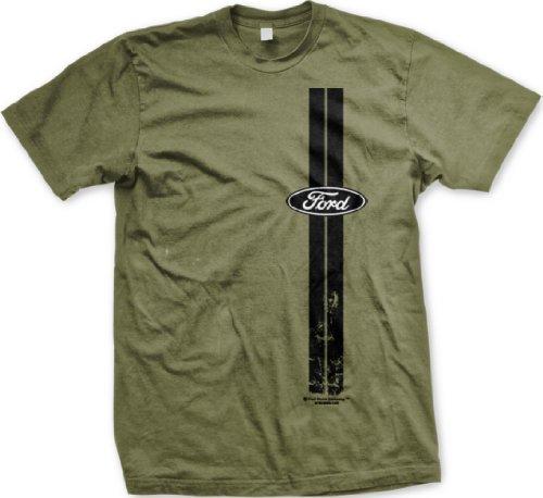 Ford Vertical Stripes Mens T-shirt, Officially Licensed Ford Men's Tshirt, Medium, Olive
