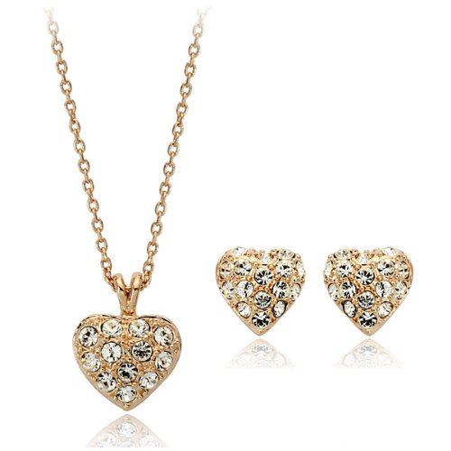 18ct Gold Swarovski Cubic Zirconia Heart Earrings and Pendant Necklace Set