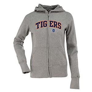 Detroit Tigers Applique Ladies Zip Front Hoody Sweatshirt (Grey) by Antigua