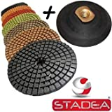 "STADEA Premium Grade Wet 4"" Diamond Polishing Pads Set + Rubber Backer For GRANITE MARBLE STONE"