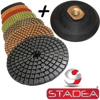 Lowest Price! STADEA Premium Grade Wet 4 Diamond Polishing Pads Set + Rubber Backer For GRANITE MAR...