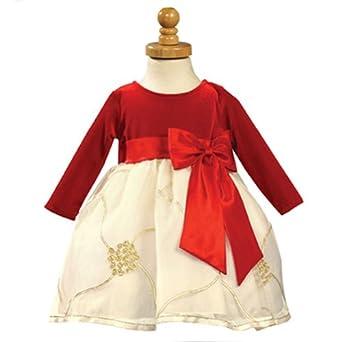 Lito Red Velvet Ivory Organza Flower Girl Christmas Dress 6