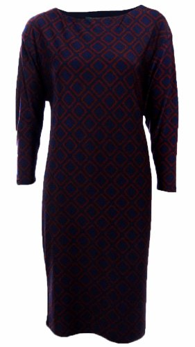Lauren Ralph Lauren Women'S Diamond Print Jersey Shift Dress (6, Navy/Burgundy)