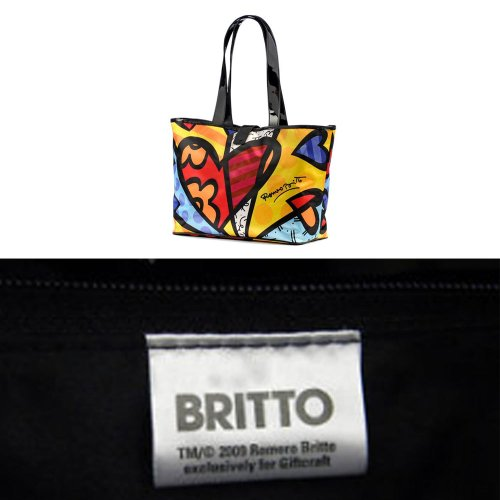 2012 Romero Britto Satin Large Tote Bag Heart Design Medium New Pop Art Women