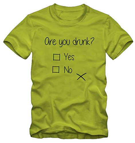 T-shirt Ironica Ironic Are You Drunk Bisura (S DONNA, LIME)