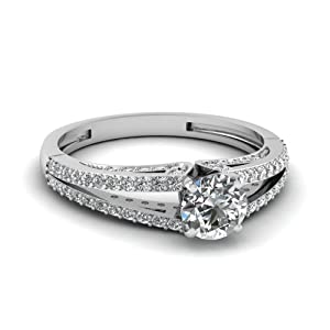 0.85 Ct Round Cut G-Color Diamond Split Band Engagement Ring Pave Set G-Color 14K GIA