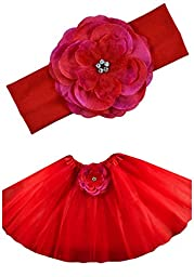 Baby and Toddler Girls Emma Tutu and Silk Flower Headband Set By Funny Girl Designs (Red)
