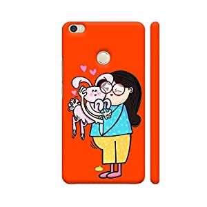 Colorpur Bunny Love On Red Designer Mobile Phone Case Back Cover For Xiaomi Mi Max   Artist: Woodle Doodle