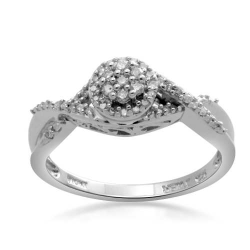 Sterling Silver Diamond Round Head Promise Ring (1/6 Cttw, I-J Color, I3 Clarity), Size 6