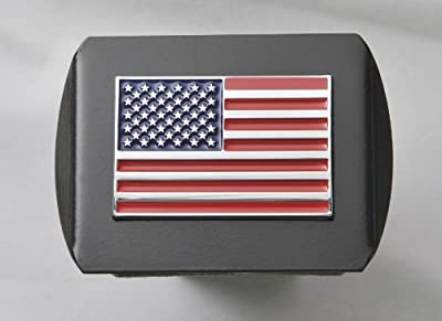 "USA US American Flag 3d Chrome Emblem on Black Trailer Metal Hitch Cover Fits 2"" Receivers"