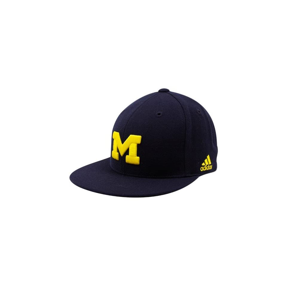 996abc2b909 NCAA adidas Michigan Wolverines Navy Blue Basic Logo Fitted Hat on ...