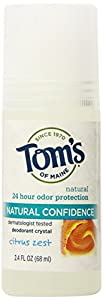 Tom's of Maine Citrus Zest Natural Confidence Roll-On Deodorant, 2.40-Ounce Bottles (Pack of 6)