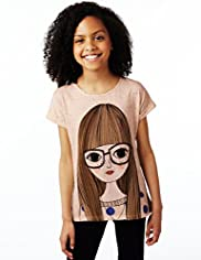 Cotton Rich Girl Print Flecked T-Shirt