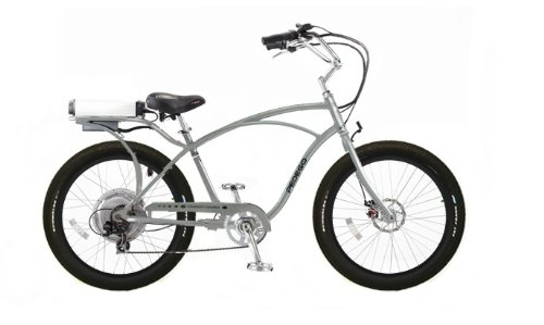 Pedego Classic Cruiser Silver with Black Rims Tire/Seat Package: Black Balloon