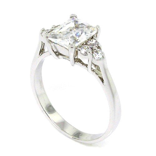 Sterling Silver Classic Engagement Ring w/Rectangular Radiant White CZ Size 5