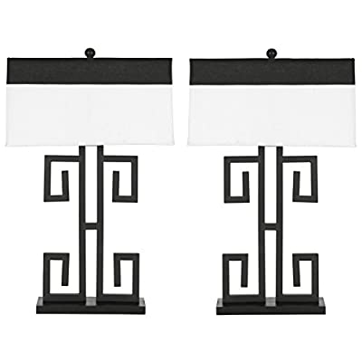 Safavieh Lighting Collection Greek Key Black 28-inch Table Lamp (Set of 2)
