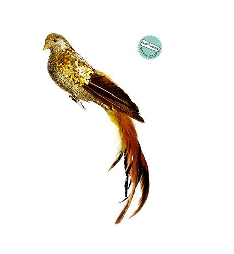 Christmas Tablescape Decor - Gorgeous gold glitter drenched clip-on bird christmas ornament with real tail feathers