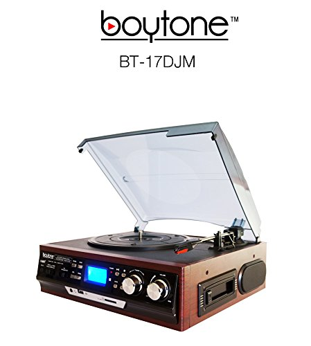 Boytone BT-17DJM 3-Speed Stereo Turntable with 2 Built in Speakers Digital LCD Display AM/FM Radio + Supports USB/SD/AUX+ Cassette/MP3 & WMA Playback /Recorder & Headphone Jack + Remote control