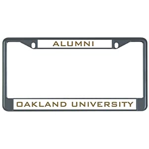 Amazon Com Oakland University Metal License Plate Frame