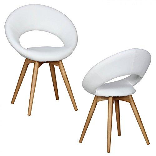 2-sedie-per-sala-da-pranzo-FineBuy-legno-massiccio-scandinavo-sedile-in-similpelle-bianca