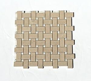 Royal Crema Verona Beige Marble Basketweave Tile with White Marble Dot Polished