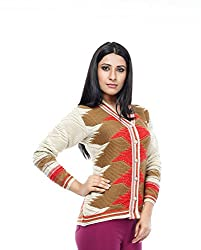 Perroni Women's Embroidered Cardigan (Beige, L Size)