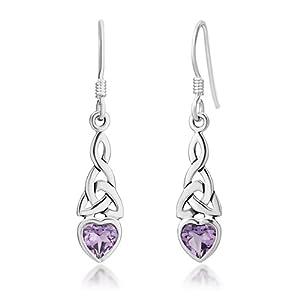 Sterling Silver Celtic Knot Amethyst Gemstone Heart Shaped Drop Hook Earrings 1.3'', Jewelry for Women - Nickel Free by Chuvora