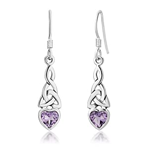 Amazon.com: Sterling Silver Celtic Knot Amethyst Gemstone Heart300
