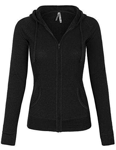 BOHENY Womens Solid Casual Basic Thermal Zip Up Hoodie Jacket-L-BLACK (Thermal Hoodie Womens compare prices)