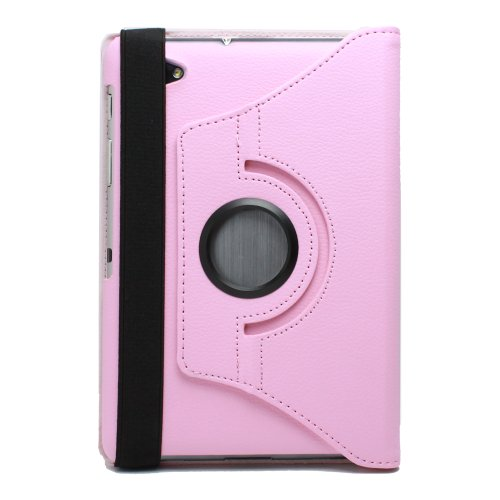 Fosmon 360 Degree Revolving PU Leather Case With Multi Angle Stand for Samsung Galaxy Tab 7.7 - Pink