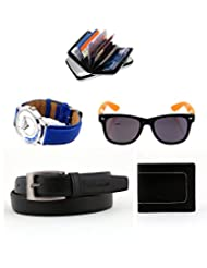 Combo Of Elligator Black PU Leather Belt,Wallet,Cardholder, Lotto Sunglass & Watch