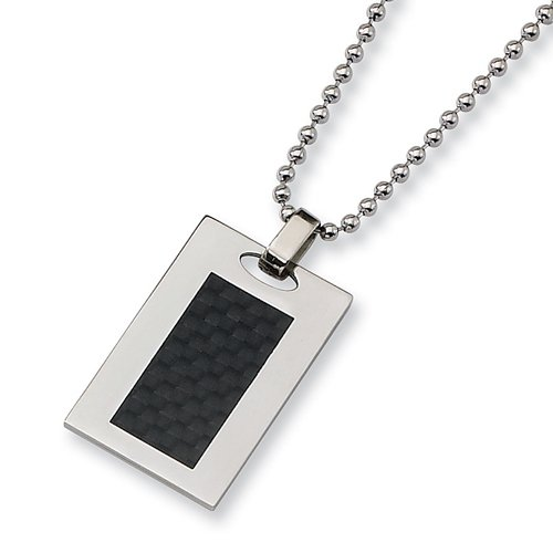 Chisel Black Carbon Fiber and Stainless Steel Dog Tag with 24 Inch Chain