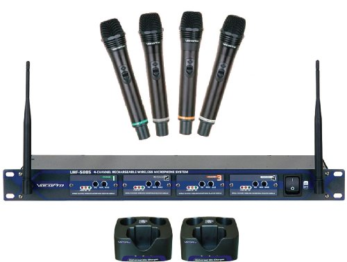 Vocopro Uhf-5805 Professional Rechargeable 4 Channel Uhf Wireless Microphone System