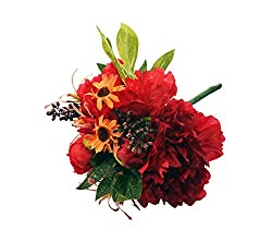 BALLERINA'S Peony and Daisy Artificial Flower Bouquet (Height 27cm, Red)