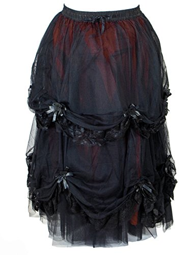 Dark Star Long Black Red Satin Rose Gothic Medieval Fairytale Skirt M-2X Plus Size