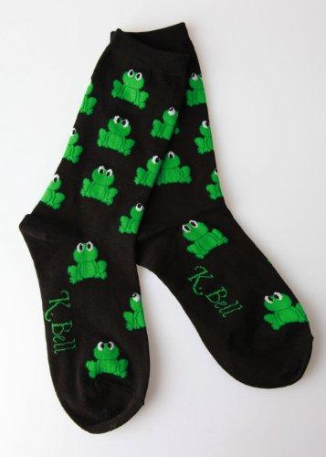 K. Bell Socks Women's Frog Novelty Socks, Black, 9-11