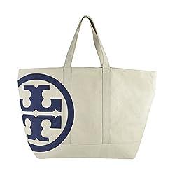 Tory Burch XL Beach Bucket Bag Natural Tory Navy