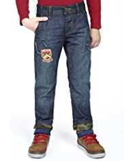 Pure Cotton Adjustable Waist Washed Look Badge Jeans