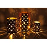 Sutra Decor Christmas Decor Stars Ornate Iron 3 - Cup Tealight Holder Set